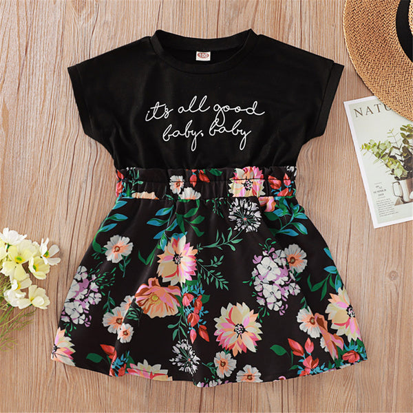Girls Floral Printed Letter Summer Dresses childrens wholesale clothing