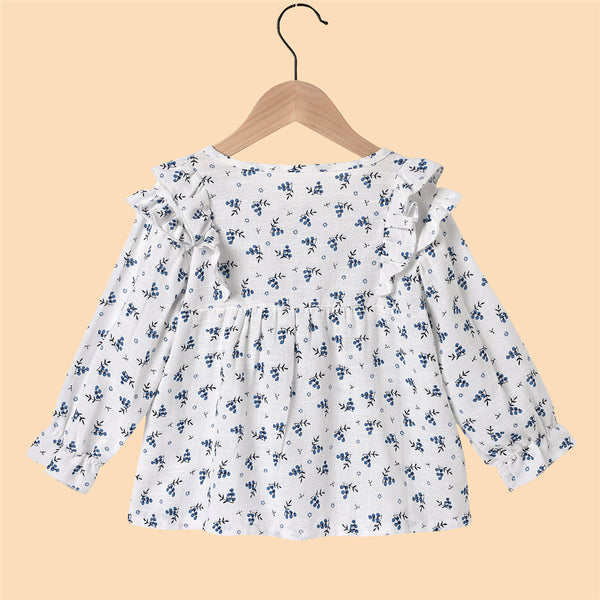 Girls Floral Printed Long Sleeve Button Ruffled Girl Boutique Clothing Wholesale