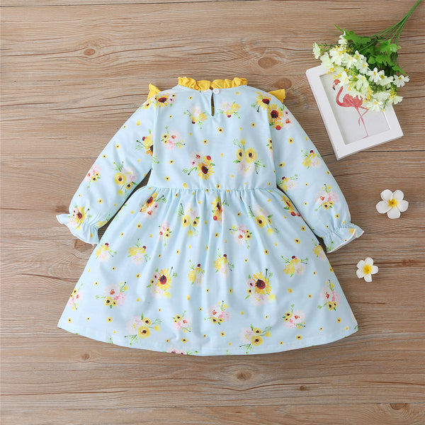 Girls Floral Printed Long Sleeve Cute Dress Wholesale Girl Clothing