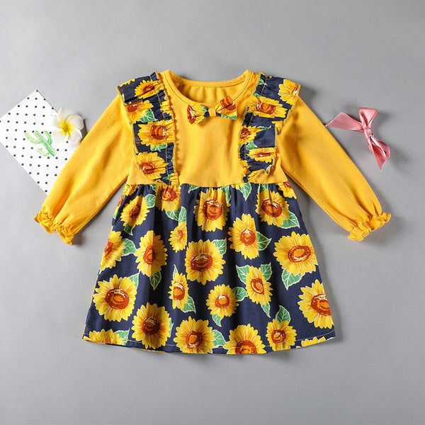 Baby Girls Floral Printed Long Sleeve Dress Wholesale Baby Boutique Items