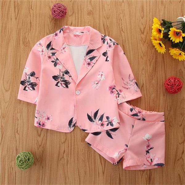 Girls Floral Printed Long Sleeve Jacket & Shorts Girl Boutique Clothing Wholesale