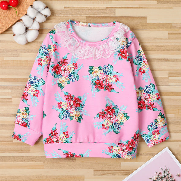 Girls Floral Printed Long Sleeve Lace Collar T-Shirts Bulk Childrens Clothes