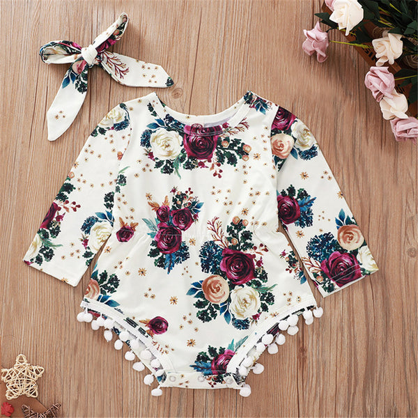 Baby Girls Floral Printed Long Sleeve Romper & Headband Wholesale Baby Items