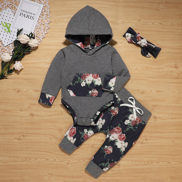 Baby Girls Floral Printed Long Sleeve Romper & Pants & Headband Wholesale