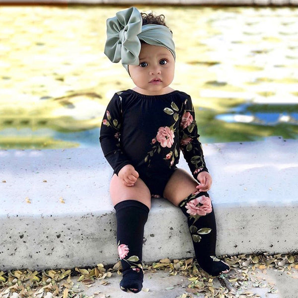 Baby Girls Floral Printed Long Sleeve Romper & Socks Cheap Boutique Baby Clothes