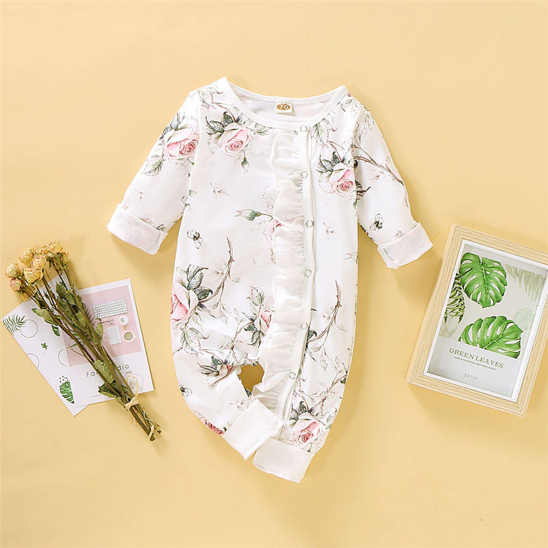 Baby Girls Floral Printed Long Sleeve Rompers