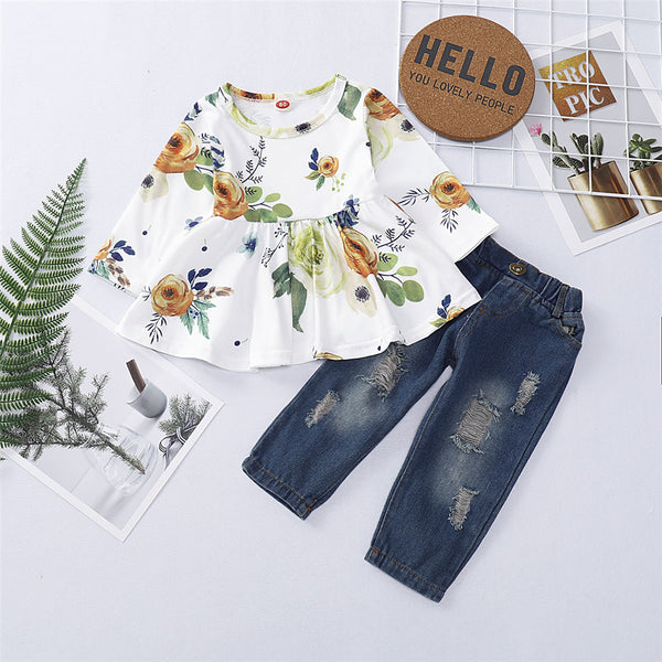 Girls Floral Printed Long Sleeve Top & Ripped Jeans Wholesale Girl Clothing