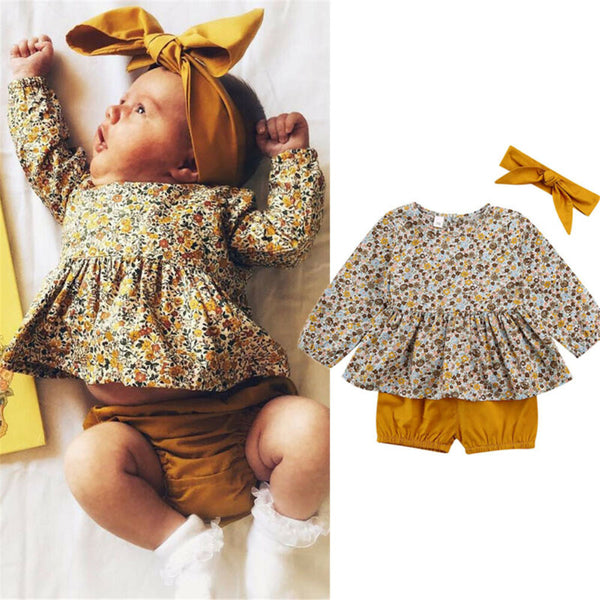 Baby Girls Floral Printed Long Sleeve Top & Shorts Wholesale Baby Outfits