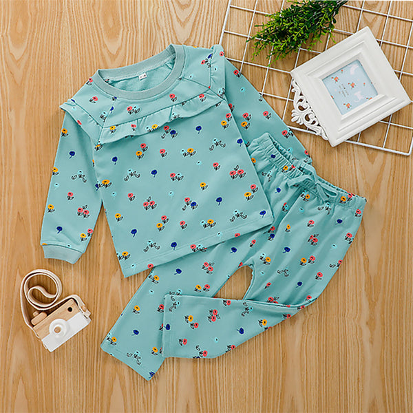 Girls Floral Printed Long Sleeve Top & Trousers Wholesale Girl Clothing