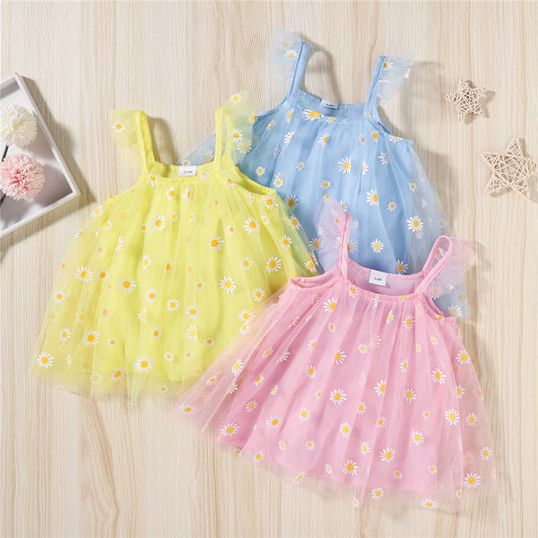 Baby Girls Floral Printed Mesh Suspender Dress baby clothes wholesale