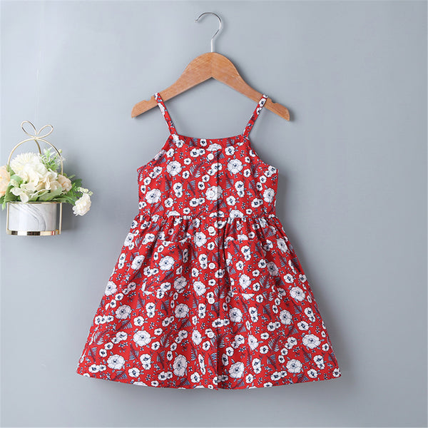 Girls Floral Printed Red Sling Dress Baby Girl Boutique Clothing Wholesale