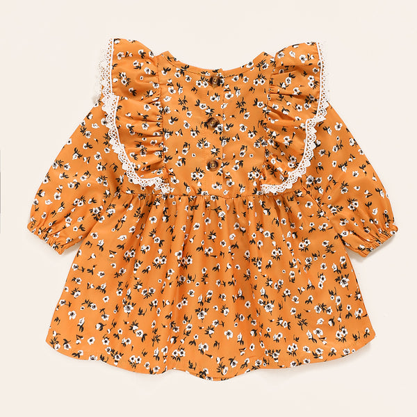 Baby Girls Floral Printed Ruffled Long Sleeve Dress Baby Clothes Wholesale Bulk