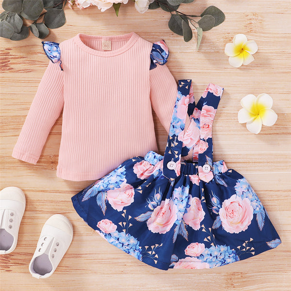 Girls Floral Printed Ruffled Long Sleeve Top & Suspender Skirt Girl Boutique Clothing Wholesale