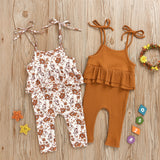 Baby Girls Floral Printed Ruffled Lovely Sling Romper Wholesale Clothing Baby