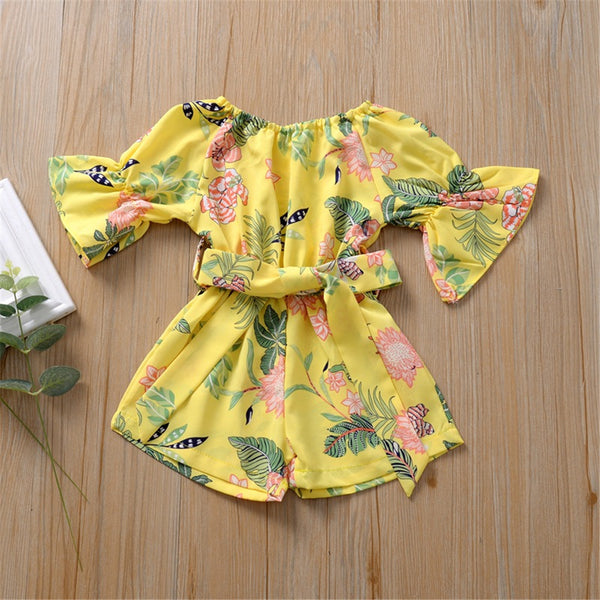 Girls Floral Printed Short Sleeve Belt Jumpsuit Baby Girl Boutique Clothing Wholesale