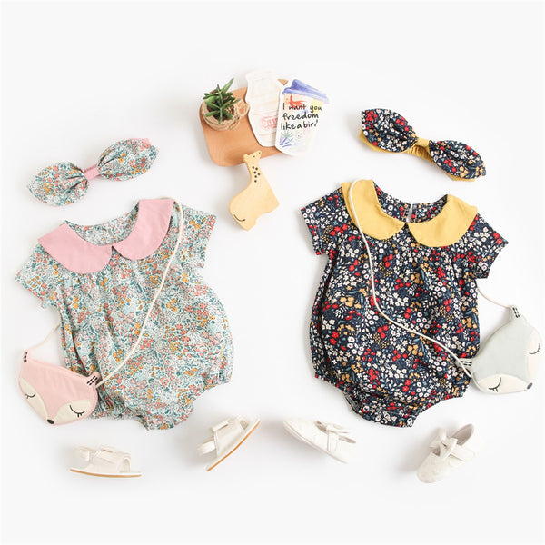Baby Girls Floral Printed Short Sleeve Doll Collar Romper & Headband Wholesale Baby Clothes