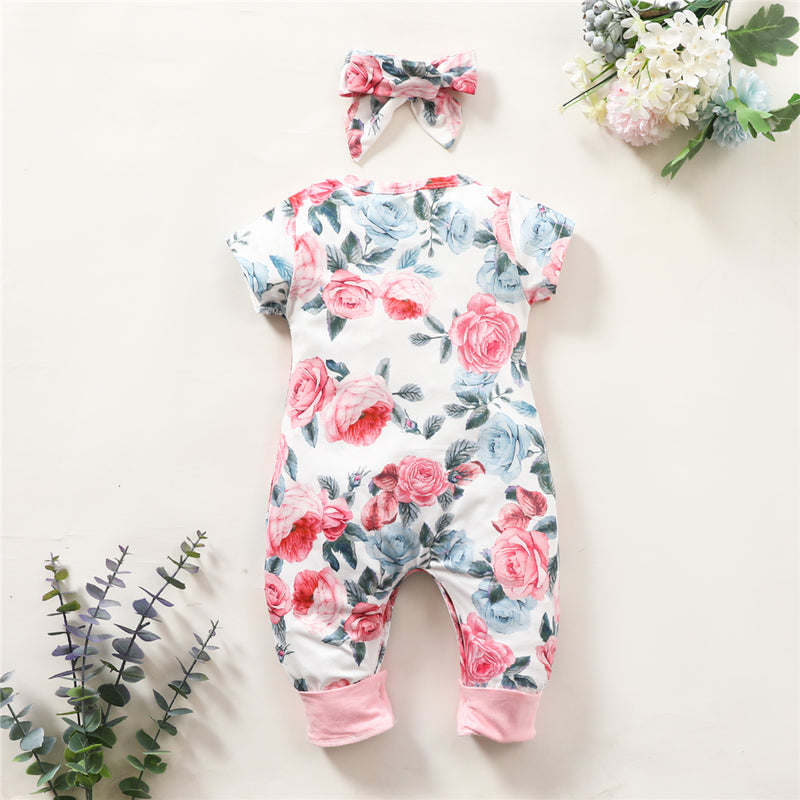 Baby Girls Floral Printed Short Sleeve Romper & Headband Wholesale Baby Clothes Suppliers