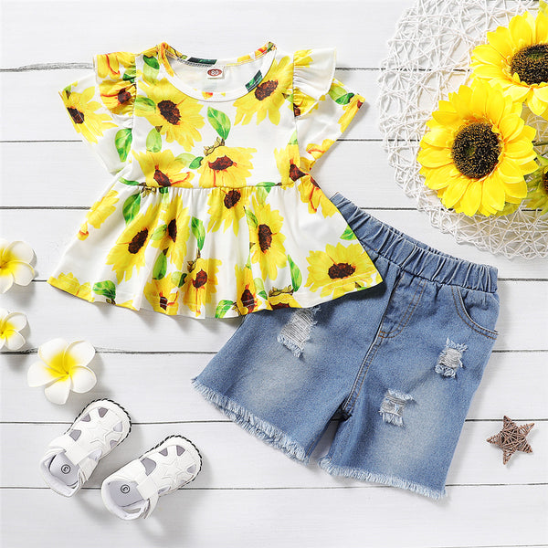 Girls Floral Printed Short Sleeve Top & Ripped Denim Shorts Girls Clothing Wholesale
