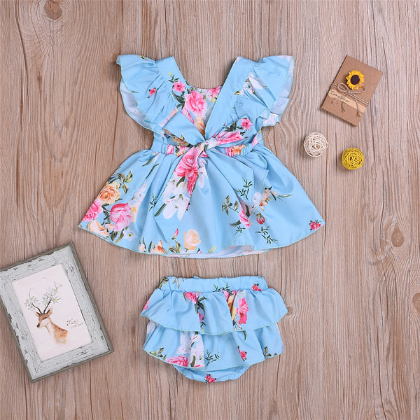 Baby Girls Floral Printed Short Sleeve Top & Shorts Wholesale Baby Clothes In Bulk