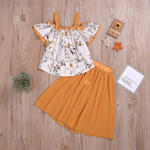 Girls Floral Printed Short Sleeve Top & Solid Pants Wholesale Girls Clothing