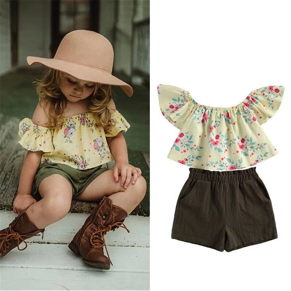 Girls Floral Printed Short Sleeve Top & Solid Shorts Buy Wholesale Kids Clothes