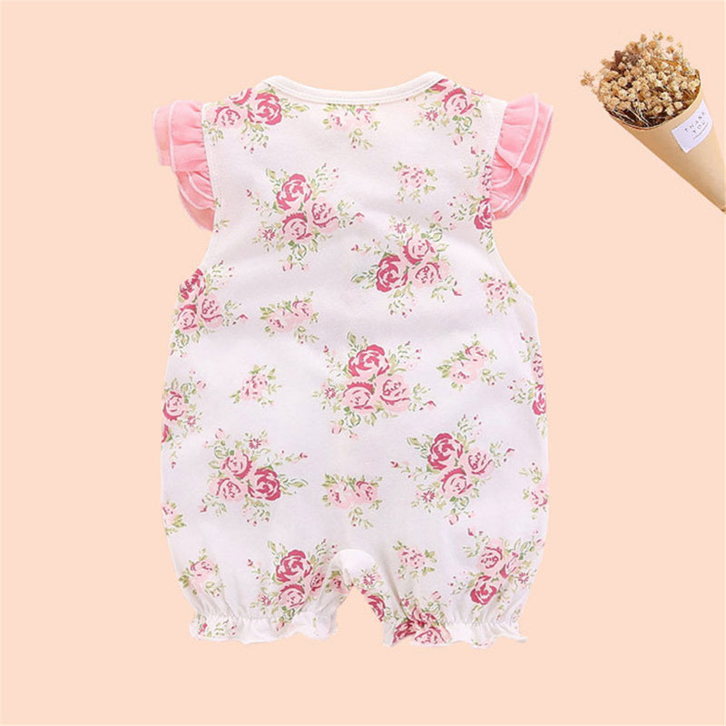 Baby Girls Floral Printed Sleeveless Bow Decor Romper Baby Clothing Wholesale Distributors