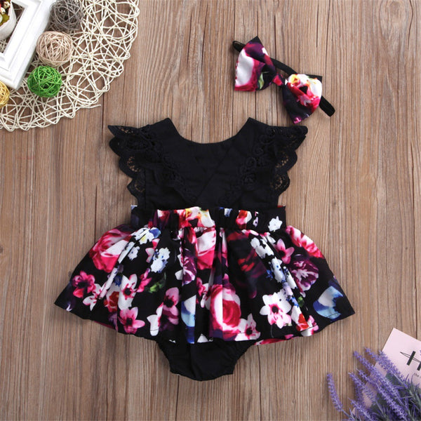 Baby Girls Floral Printed Sleeveless Lovely Romper & Headband baby clothes vendors