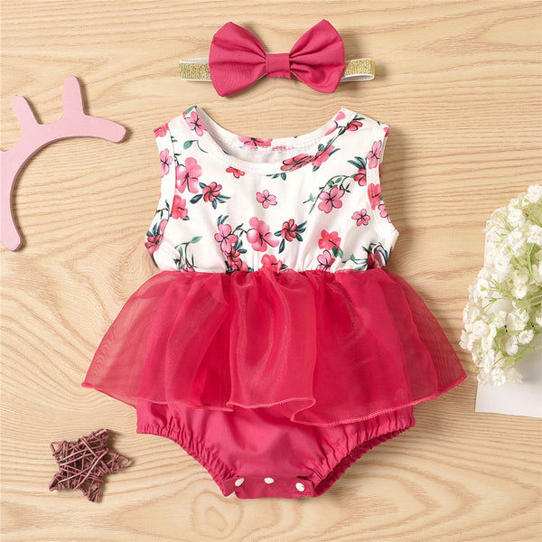 Baby Girls Floral Printed Sleeveless Mesh Romper & Headband baby clothes wholesale distributors