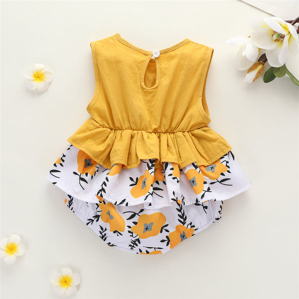 Baby Girls Floral Printed Sleeveless Romper Baby Wholesale Clothing