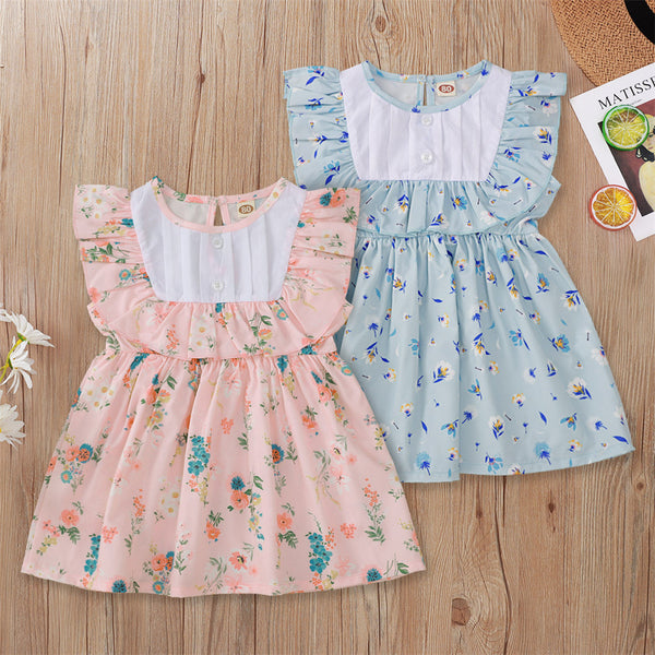 Baby Girls Floral Printed Sleeveless Ruffled Dress Baby Clothes Cheap Wholesale