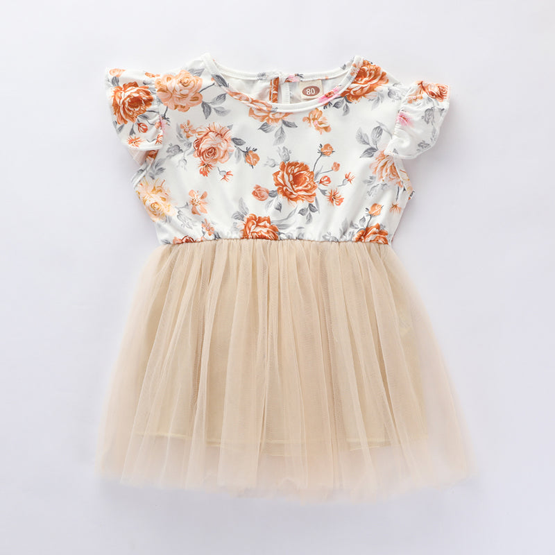Girls Floral Printed Sleeveless Splicing Tulle Dress Kids Wholesale Clothing