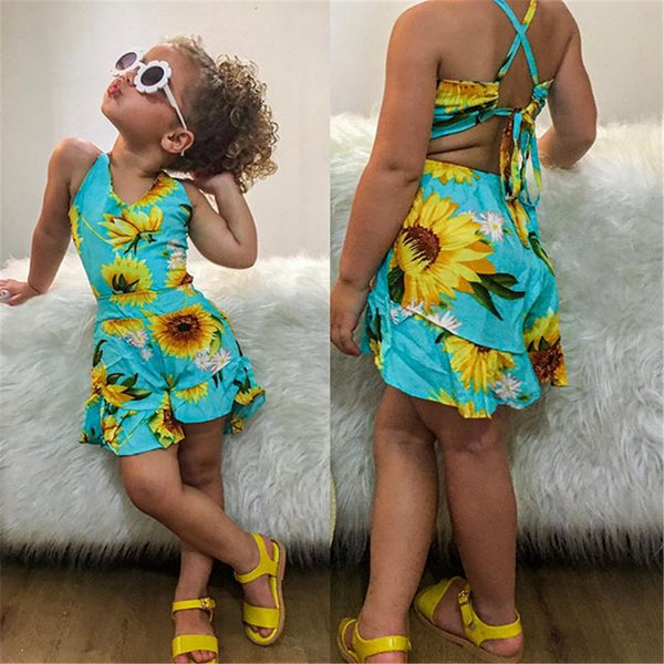 Girls Floral Printed Sleeveless Summer Jumpsuit Baby Clothes Wholesale Suppliers