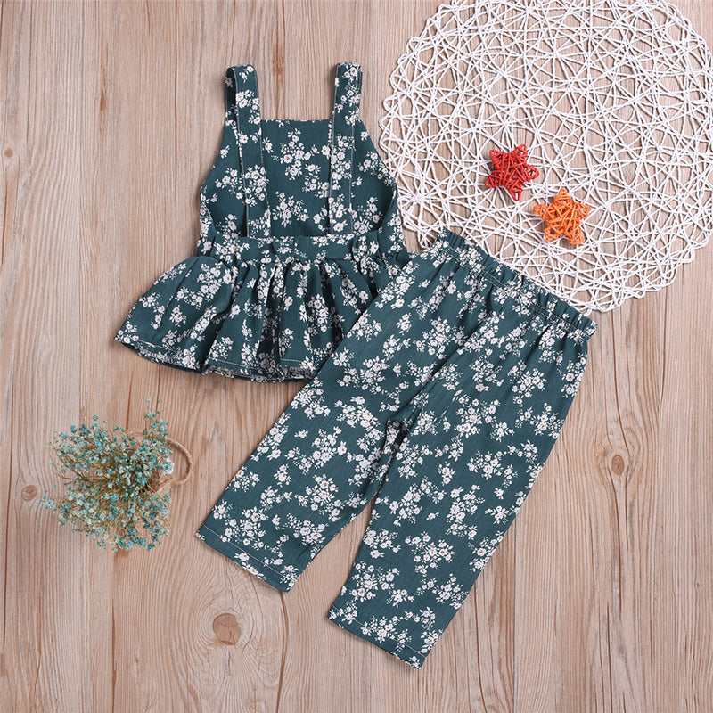 Girls Floral Printed Sleeveless Top & Pants Wholesale Little Girl Boutique Clothing