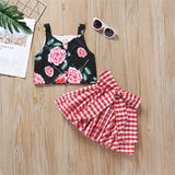 Girls Floral Printed Sleeveless Top & Plaid Skirt Summer Suit Baby Girl Boutique Clothing Wholesale