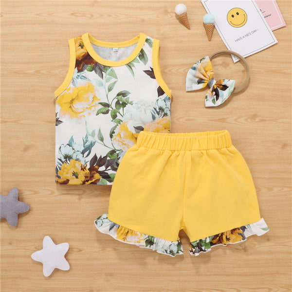 Baby Girls Floral Printed Sleeveless Top & Shorts & Headband Boutique Baby Clothes Wholesale