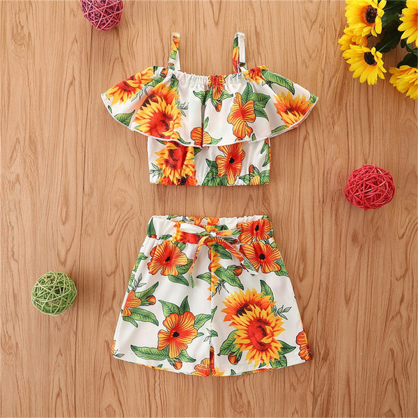 Girls Floral Printed Sleeveless Top & Shorts wholesale kids boutique clothing
