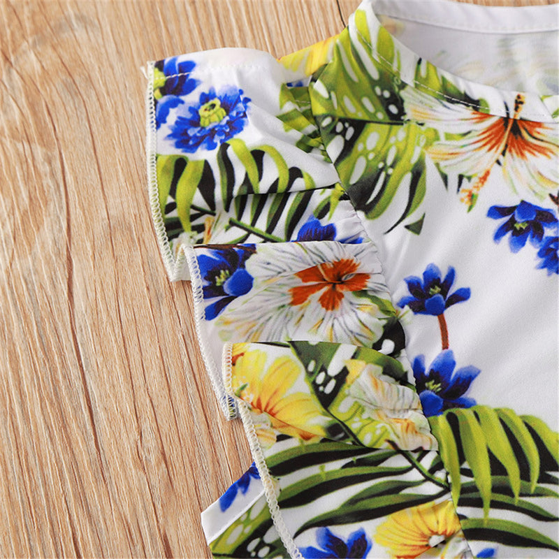 Girls Floral Printed Sleeveless Top & Shorts wholesale kids clothing