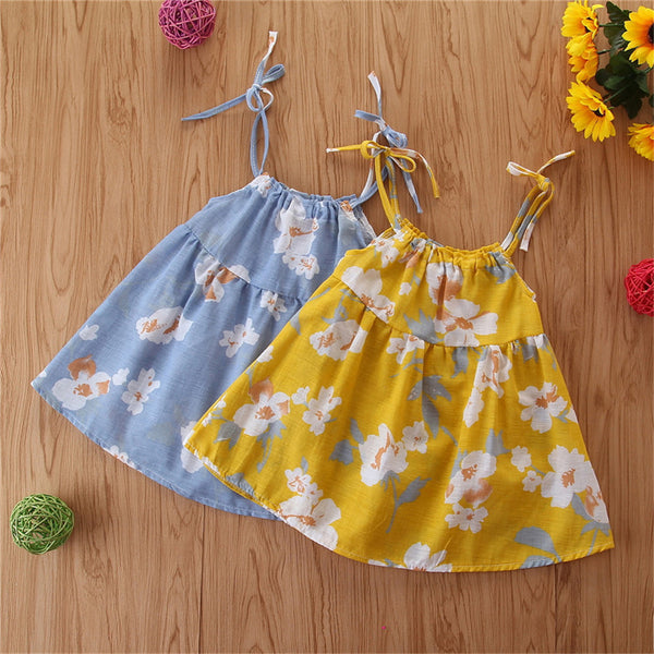 Baby Girls Floral Printed Sling Dresses Baby Boutique Clothing Wholesale
