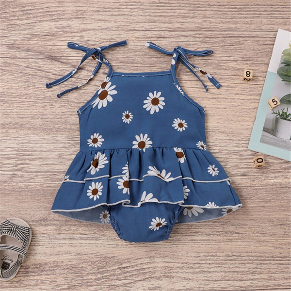 Baby Girls Floral Printed Sling Romper Wholesale Baby Clothes