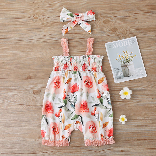 Baby Girls Floral Printed Sling Romper & Headband Buy Baby Clothes Wholesale