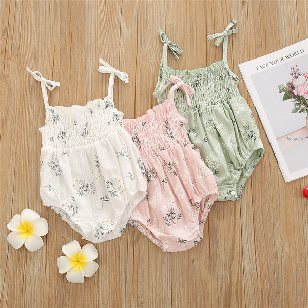 Baby Girls Floral Printed Sling Romper & Headband baby clothes wholesale distributors