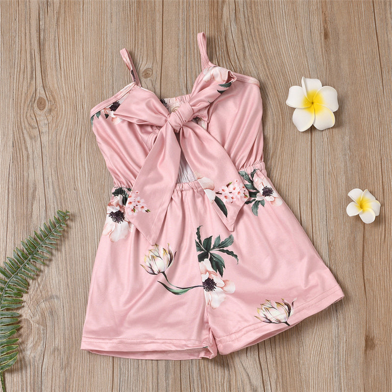 Girls Floral Printed Sling Tie Up Jumpsuit Summer Pajamas Wholesale Little Girl Clothing