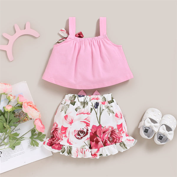Baby Girls Floral Printed Sling Top & Shorts Wholesale Baby Clothes