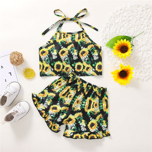 Girls Floral Printed Sling Top & Shorts trendy kids wholesale clothing