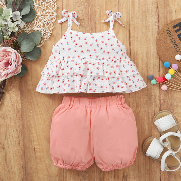 Baby Girls Floral Printed Sling Top & Solid Color Shorts baby wholesale