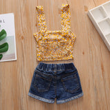 Girls Floral Printed Sling Tube Top & Denim Shorts Bulk Baby Girl Clothes