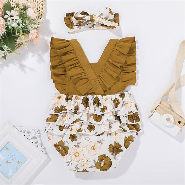 Baby Girls Floral Printed Splicing Romper & Headband baby clothes wholesale usa