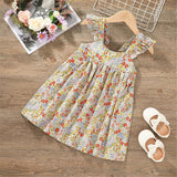 Girls Floral Printed Suspender Dress wholesale kids boutique clothing