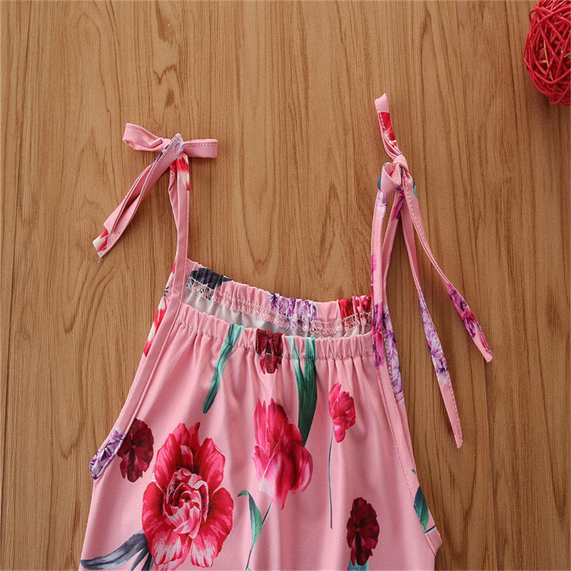 Baby Girls Floral Printed Suspender Jumpsuit Baby Clothes Cheap Wholesale