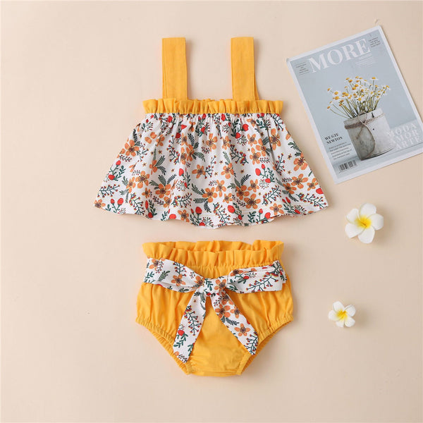 Baby Girls Floral Printed Suspender Top & Shorts cheap baby clothes wholesale